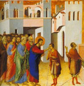 Duccio - Jesus opens the eyes of a man born blind