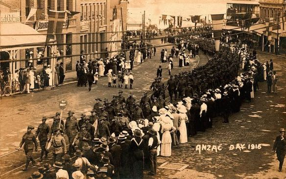 THe first ANZAC Day march, Brisbane, 1916 (Wikimedia commons)