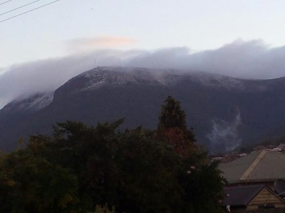 The mountain. Taken from our front porch. Yes, that's snow already.